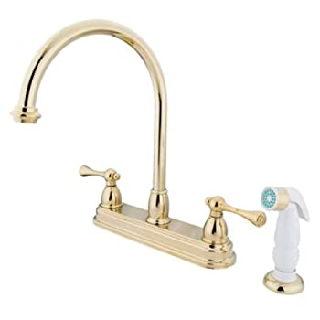 Kingston Brass KB3752BL Vintage 8-Inch Centerset Kitchen Faucet With Plastic Sprayer, Polished Brass