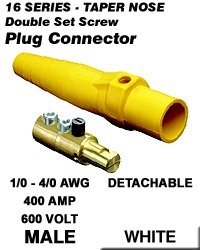 Leviton 16D24-W Single Pole Cam Type Plug Detachable Male Double Set Screw Complete 16 Series Taper Nose 1/0-4/0 Awg 400 Amp - White (Pkg Of 10)