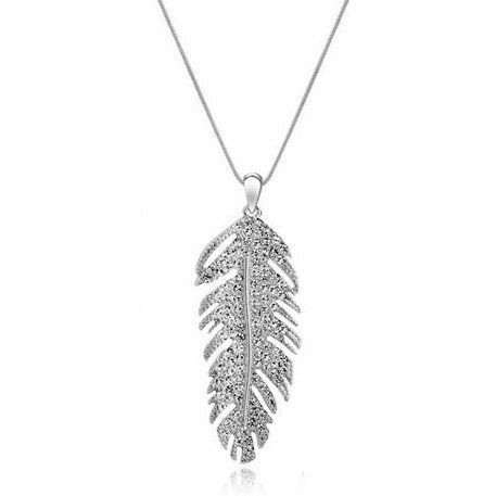 Tungsten Love Bohemian Style Silver Leaf Pendant Decoration Necklace in White Gold Plated