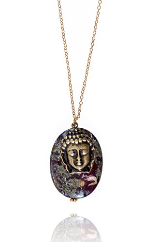 Dragon Blood Pendant with Buddha Head Charm Gold Filled Necklace for Courage and Self-Confidence, 20 Inch