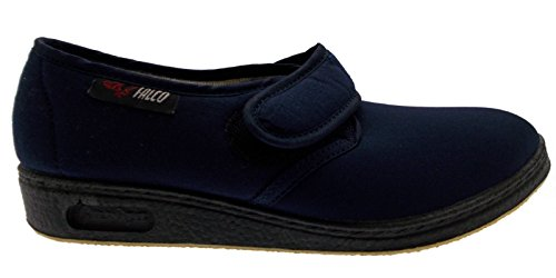 pantofola velcro cotone elasticizzato blu fisioterapia extra large 35 blu