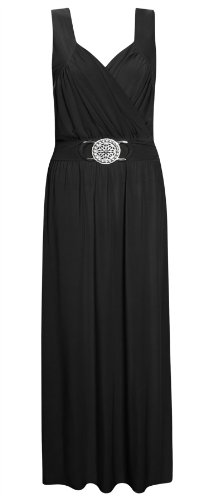 Womens Plus Size Long Evening Buckle Cocktail Frankie Wrap Over Party Maxi Dress