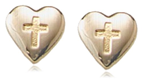 Children's 14k Heart Safety Earrings with Embossed Cross