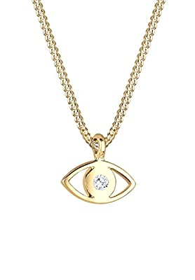 Elli 925 Silver Evil Eye Pendant Necklace Gold Plated with Swarovski Crystal Diamond Cut 40 cm - 0109130115 _ 40