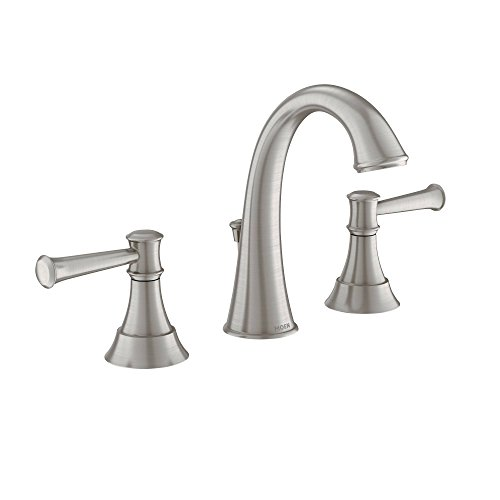 Moen 84778MSRN Ashville Widespread 2 Handle Bathroom Faucet with Microban Protection, 8-Inch, Spot Resist Brushed Nickel