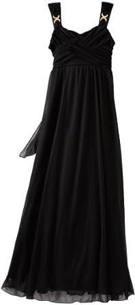 Ruby Rox Big Girls' Cross Front Mesh Long Dress, Black, Small