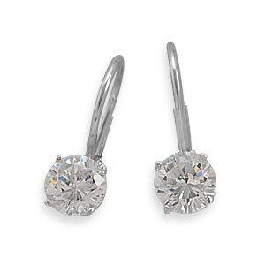 Rhodium Plated Lever Back Earrings with 6mm Round CZ