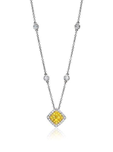 Bouquet 5/8 Carat TW Fancy Intense Yellow/White Diamond 18K Gold Pendant Necklace