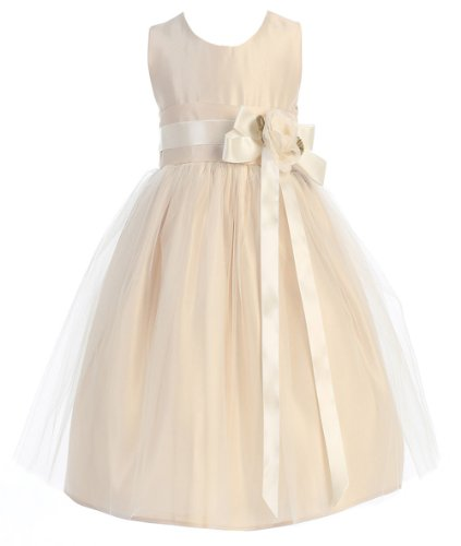 Sweet Kids Girls Vintage Satin And Tulle Flower Girl Pageant Dress