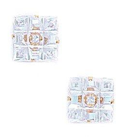14k Yellow Gold 8x8mm 9 Segment Square CZ Light Prong Set Earrings - JewelryWeb