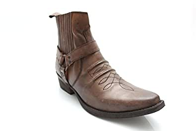 G0370T Mens Vintage Leather Cowboy Western Winter Ankle Boots Size UK 10