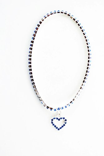 Diamond Studded Heart Anklet &#8211; Dangle Malibu Anklet (Blue)