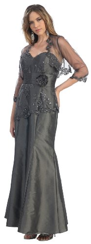 Mother of the Bride Formal Evening Dress #861 (2XL, Charcoal)