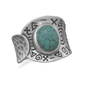 Oxidized Turquoise Ring / Size 7