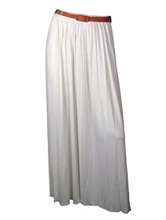 The Home of Fashion Pleated Belted Long Jersey Maxi Dress Skirt (12, Grey)