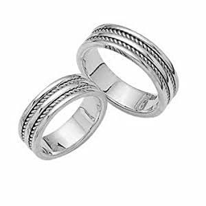 White Handmade His And Her Wedding Bands In Platinum 6 Mm Jewelry