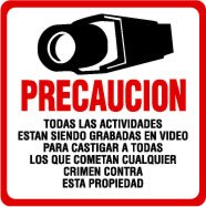 Security Sign - #204S 1 SPANISH Video CCTV Security Surveillance Camera System Warning Sign - Commercial Grade.