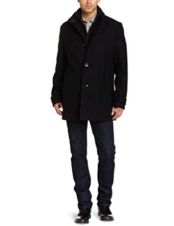 Kenneth Cole Men's Melton Car Coat, Black, X-Large