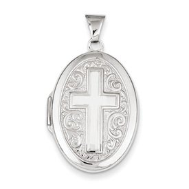 Genuine IceCarats Designer Jewelry Gift Sterling Silver Oval Cross Locket