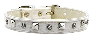 "Mirage White & Silver Faux Snake Skin Austrian Crystal & Pyramid Spike Metal Studded Dog Collar Size 16 (13""-15"")"