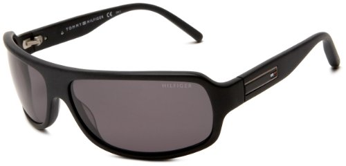 Tommy Hilfiger Men's 1007/S 0QHC Polarized Wrap Sunglasses,Matt Black Frame/Smoke Lens,One Size