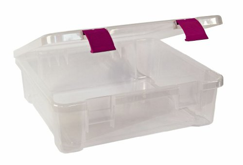 "Fantastic Deal! Creative Options File Tub 17.25""L x 16""W x 5.25""H Clear W/Magenta"