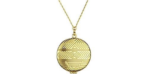 House of Harlow 1960 - Collana lunga, con ciondolo a forma di medaglione apribile, in oro 14 carati