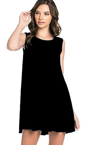 Bamboo Fiber Knit Sleeveless T-shirt Dress (medium, black)