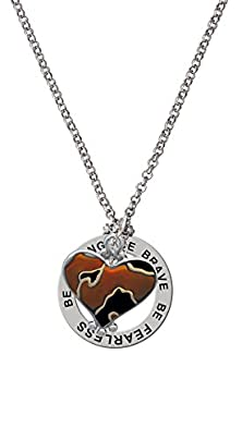 buy Two Tone Enamel Cheetah Print Heart Be Strong Brave Fearless Affirmation Ring Necklace