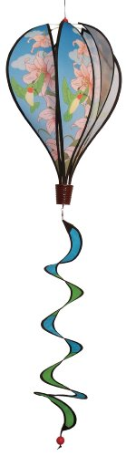 In the Breeze Hummingbird Lily 6 Panel Kinetic Hot Air Balloon Wind Spinner