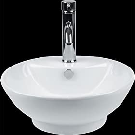 Vessel Sinks White Vitreous China, Vessel Sink White 17 1/2 in. dia.