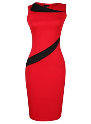 Mooncolour Womens Sleeveless Fit Stretch Bodycon Pencil Dress