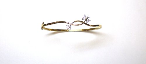 9ct Yellow Gold Cubic Zirconia Butterfly Bangle