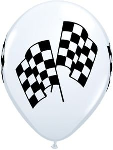 "Single Source Party Supplies - 11"" Checkered Flag Racing Balloon Bag of 10"