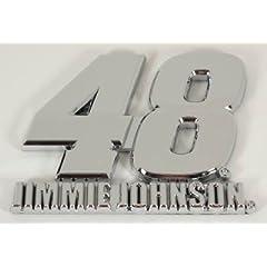 Buy Jimmie Johnson #48 3D Silver Chrome Die Cut Auto Emblem Decal Nascar Racing by Team Spirit