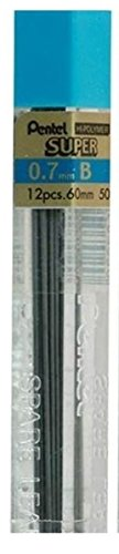 Pentel 0.7mm Tamaño B Pantalla Dureza Lápiz Recambio Repuesto Reemplazo Cables Hi Polímero Súper Para Automático & Lápices Mecánicos (Pack De 1 Tubo - 12 Unidades)