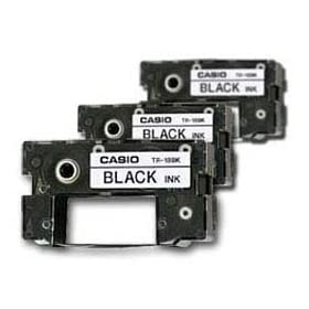Casio Black Ribbons for All CW Disc Title Printers, 3 Pack (TR-18BK-3P)