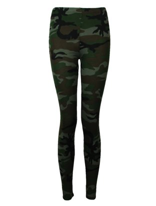 The Home of Fashion New Dark Green Stretchy Camouflage Patterned Womens Ankle Leggings Size 8-16 (XL (16))