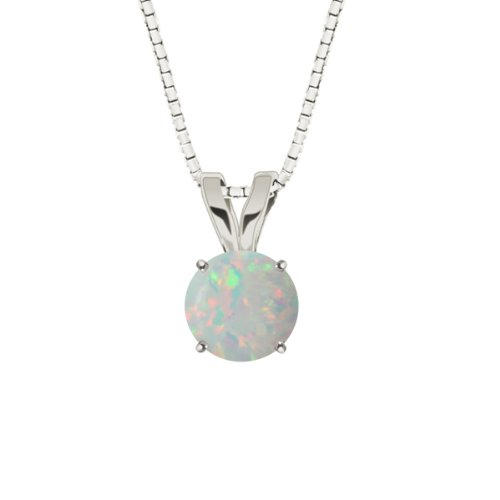 10k White Gold Round Created Opal Gemstone Pendant Necklace (8mm 5/8 ct), 18""