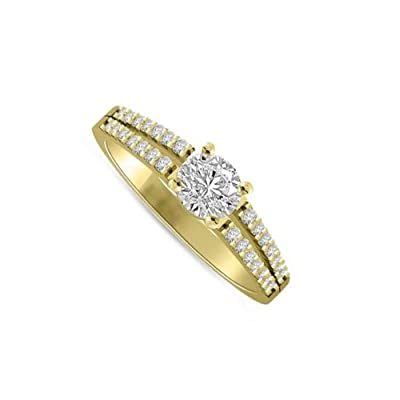 0.45 carat Diamond Engagement Ring for Women. G/SI1 Solitaire Round Brilliant with Shoulder set Diamonds 18ct Yellow Gold