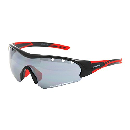 L-BALANCE EYES(エルバランス・アイズ) レンズ交換スポーツサングラス LBR-409-1 ブラック&レッド/スモーク&フラッシュミラー(交換レンズ/クリア)