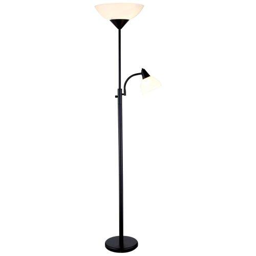 Adesso 7202-01 Piedmont 300-Watt Incandescent Torchiere with 60-Watt Adjustable Reading Lamp, Black