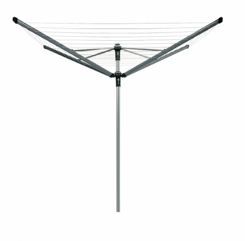 Brabantia Lift-O-Matic Advance Rotary Dryer with 50mm Plastic Ground Tube and Cover, 50m, 4 Arms, Metallic Grey