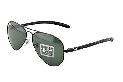 Ray-Ban ORB8307 002/N5 Aviator Sunglasses,Black Frame/Polar Green Lens,58 mm