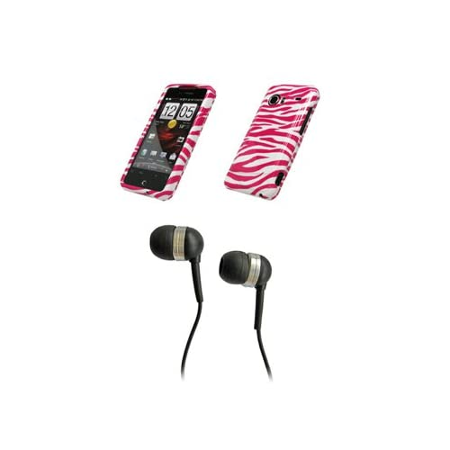 HTC Droid Incredible Premium Hot Pink Zebra Skin Design Snap on Case Cover Cell Phone Protector + Black 3.5mm Stereo Hands free Headphones for HTC Droid Incredible