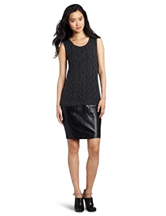 Cluny Women's Leather Skirted Sheath, Charcoal/Black, Small