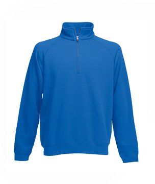 Mens Fruit Of The Loom Zip Neck Sweatshirt-Royal-Small-FREE SHIPPING