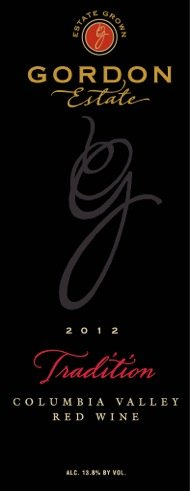 "2012 Gordon Estate ""Tradition"" Columbia Valley Cab/Syrah Red Blend 750 Ml"