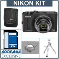Nikon CoolPix S8100 Digital Camera Kit - Black - With 4GB SD Memory Card, Camera Case, 2 Year Extended Service Coverage, Table Top Tripod,