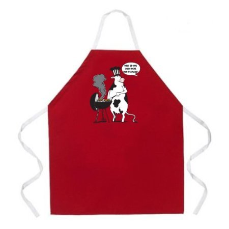 Attitude Apron Cow BBQ Apron, Red, One Size Fits Most